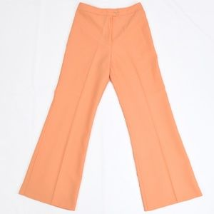 70s Vintage Wide Leg Flare Pants Peach High Waist